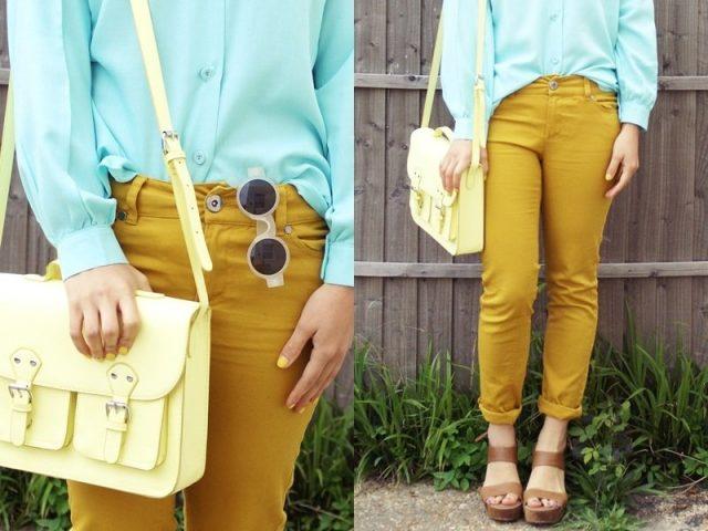 голубой цвет в одежде с брюками