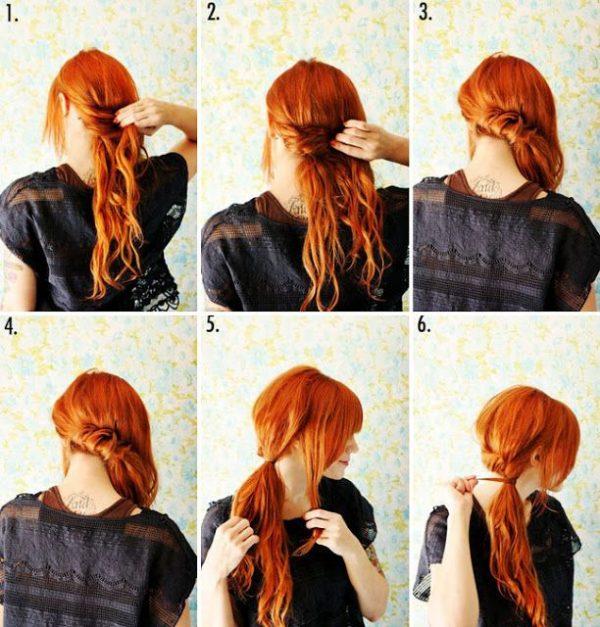 хвост сбоку на средние волосы на каждый день