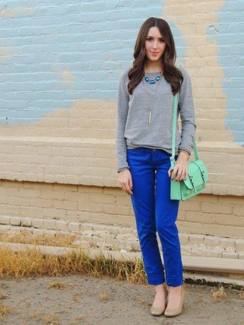 синий цвет в одежде с серым