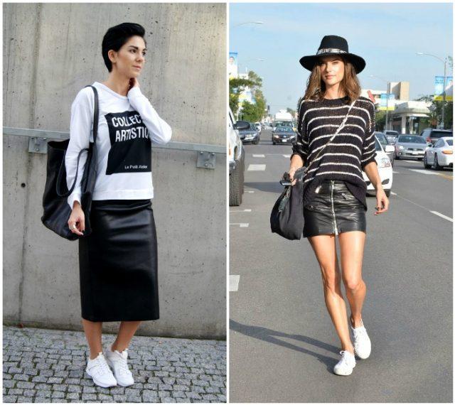 кожаные юбки с белыми кедами