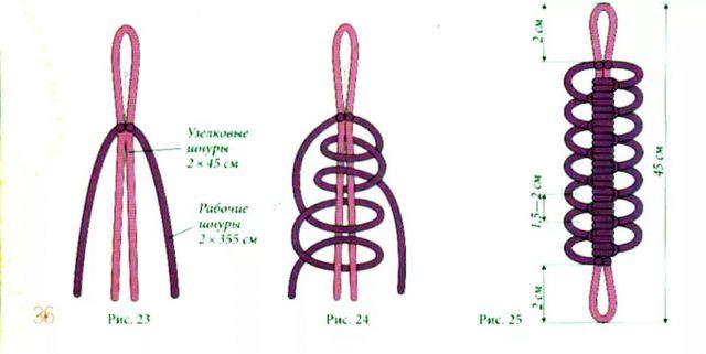 браслет своими руками из шнурков схема