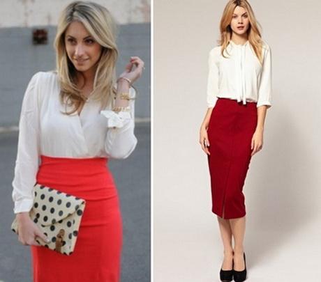 блузка с красной юбкой