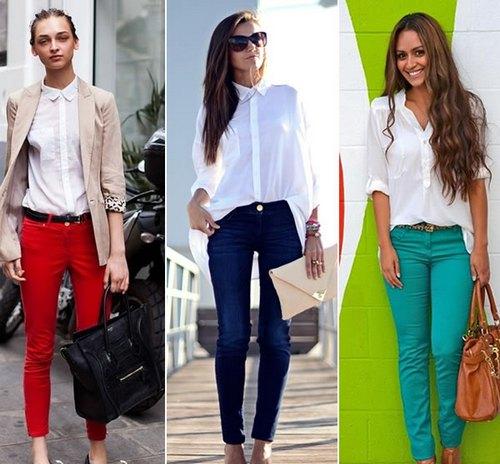 белая блузка с яркими штанами