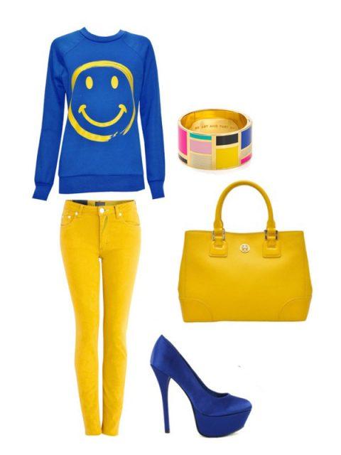 синий цвет в одежде в сочетании с желтым