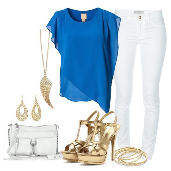 синяя блузка и белые брюки