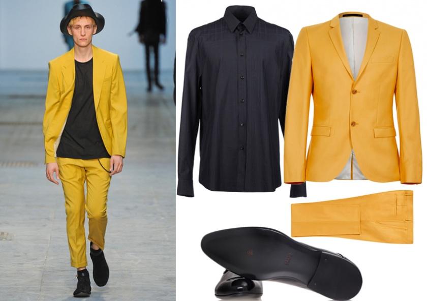 мужской деловой желтый пиджак