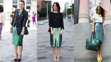 блестящая юбка: с чем носить