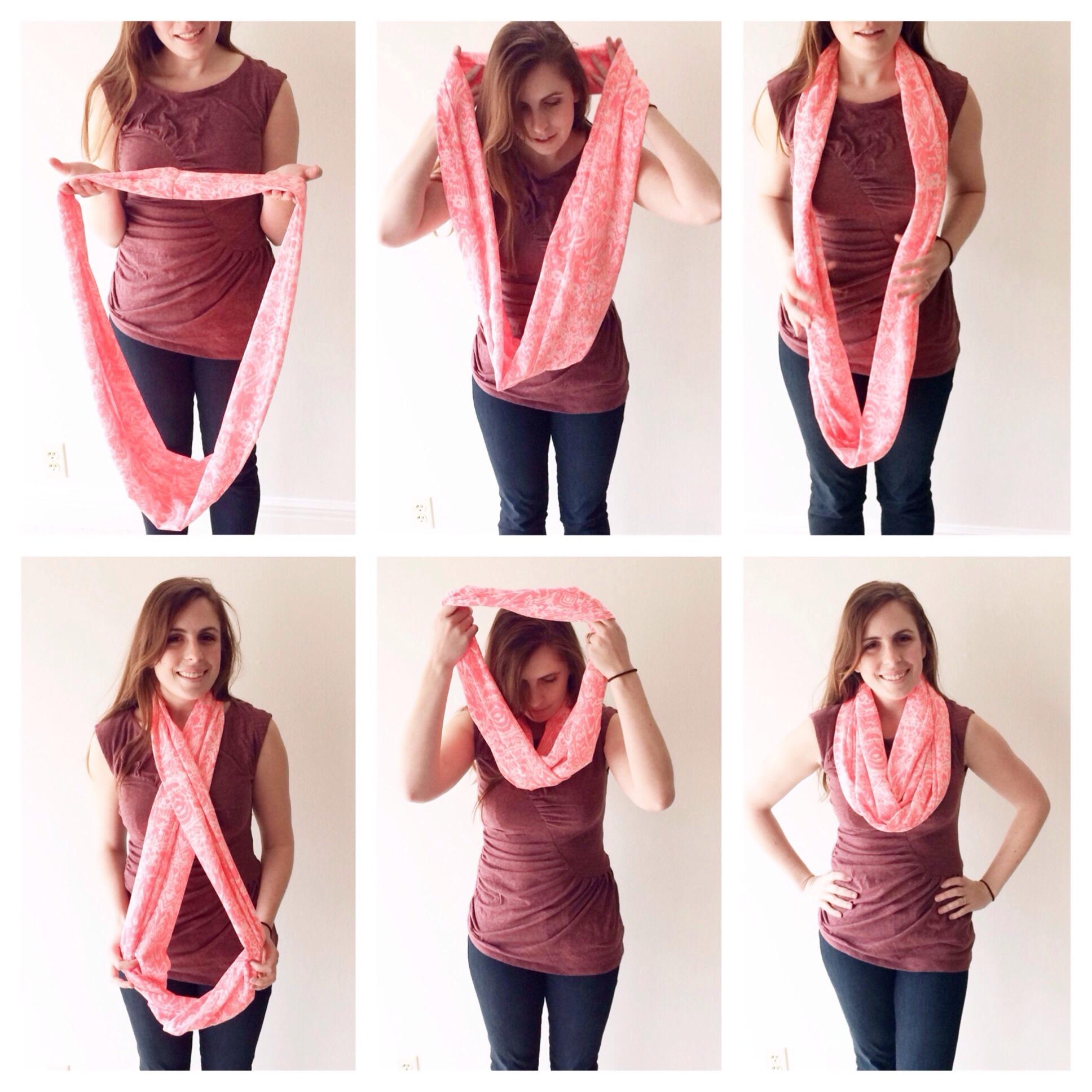 как завязать шарф в узел - колье