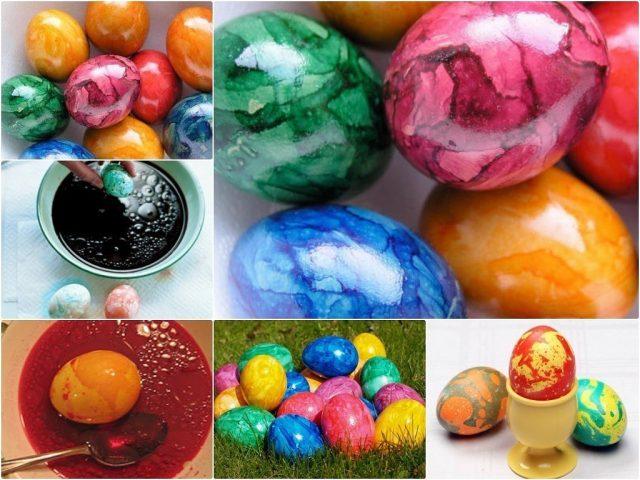 Как покрасить яйца на Пасху и сделать мраморными