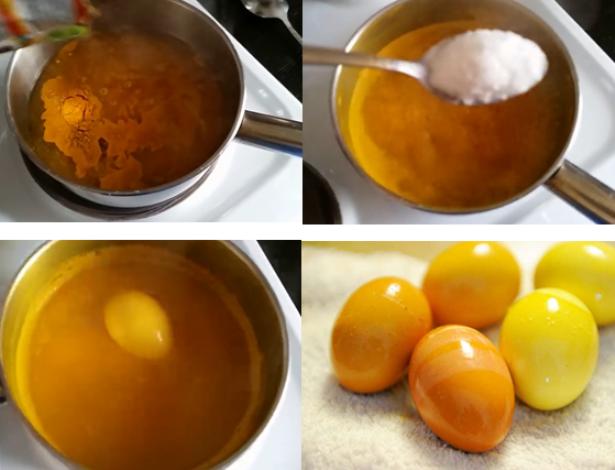 Как покрасить яйца куркумой в домашних условиях